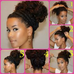 Halo High Bun Tutorial: 1. Put your hair into a high ponytail.  2. Pin it up into a bun.  3. Cut a piece of yarn or fabric (old stockings are extremely flexible!)  4. Wrap it around your head and tie it into a knot in the back. (You can easily tuck any excess underneath the knot or use a hair pin to keep it secure.) Repeat 2 more times.