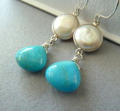 Blue Turquoise Drop White Coin Pearl handmade sterling by TatianaG, $45.00