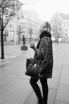 phillip lim, fashion, winter style, fall outfits, winter outfits, oversized sweaters, big bags, scarv, ugg boot