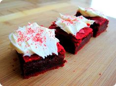 Red Velvet Cake Batter Brownies (which i highly recommend frosting with COOL WHIP cream cheese frosting!)