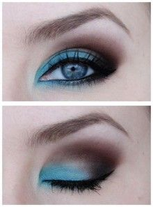 Pretty! eye colors, eyeshadow, color combos, blue eye makeup, beauti, hair, shadows, blues, bright colors