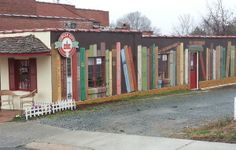 The book mural at Circle City Books and Music in Pittsboro, N.C. (Myles Friedman / Bookshop Blog / January 20, 2013)