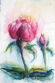 fuchsia pink rose  watercolor giclee print by CheyAnneSexton
