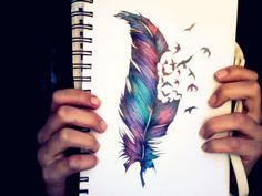 In love! draw, tattoo ideas, bird tattoos, pen art, feather art, a tattoo, colored pencils, feather tattoos, design