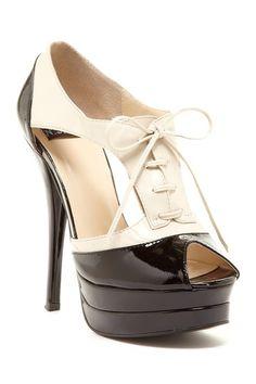 Lace Up Peep Toe Heels