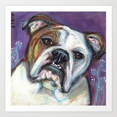 Portrait of an English Bulldog Art Print by Angie Ketelhut - $20.80