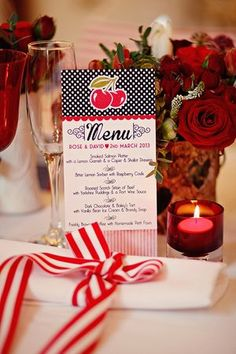 Cherry red wedding menu. 1950's Americana style wedding. Photos by http://www.emmasolley.com/