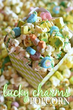lucky charms popcorn, lucky charms marshmallows, charm popcorn, 4 ingredients, snack, treat, kid, lucki charm, popcorn recipes