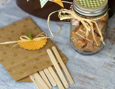 Simple Mason Jar full of Caramels to make a DIY Caramel Apple Gift Basket   {ribbonsandglue.com}