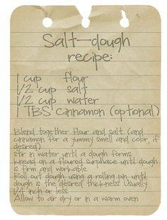 Salt Dough recipe for xmas ornaments w/ the kids