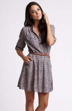Long Sleeve Belted Dress