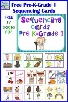Free Sequencing and Color Matching Cards for Pre K, K, and Grade 1, PDF on the Pre K and K Sharing Blog, familiar childhood stories and activities for sequencing
