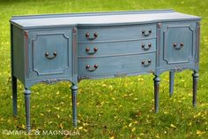 Buffet - painted with Annie Sloan Aubusson Blue/antiqued with dark wax.
