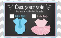 Gender Reveal Printable Voting Cards