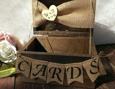 burlap banner cards banner country wedding card box wood on Etsy, $69.00