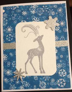Christmas card using reindeer stamp set