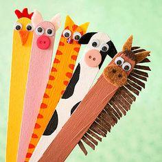 bookmarks, animals, googly eyes, craft sticks, farms, puppet, beads, paint, friend