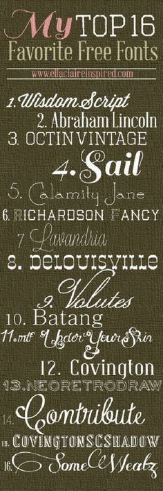 {Ella Claire}: My Top 16 Favorite {FREE} Fonts