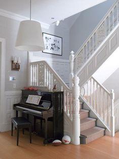 White on white stair railing.