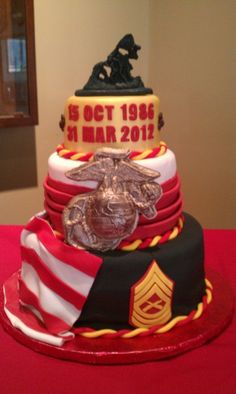 Image detail for -Marine Corps Retirement Cake by stacie_black on Cake Central
