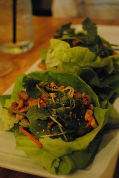 Lettuce Cups stuffed with Shitake Mushroom, Tofu, Cashew and Ginger