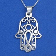 Silver Kabbalah Hamsa pendant
