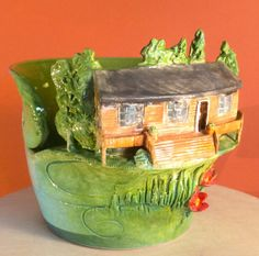 Cabin in the woods yarn bowl. by EarthWoolFire on Etsy, £100.00