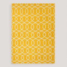 $320 Yellow Bahari Flat-Woven Wool Rug