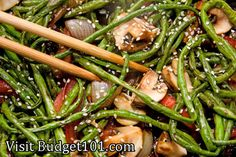 Sesame Green Beans with Mushrooms and Chestnuts-fresh green beans are tossed with sesame oil, sauteed with mushrooms and chestnuts and perfectly seasoned for a flavorful, healthy dish that is perfect with any grilled meat, or as a vegetarian dish served over freshly steamed rice. (Click on photo for recipe)