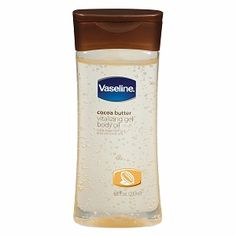 Vaseline Intensive Care Cocoa Butter Vitalizing Gel Body Oil--This stuff is the best! add a tear drop to your regular lotion---smooth skin