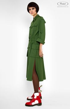 Pintel™ Store — SHINDY — designer women's military style dress in genuine wool (Italy)