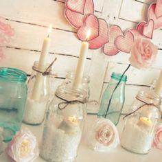 Subtle valentines decor candles, baby girls, baby girl shower, shower idea, mason jars, babi shower, parti, baby showers, heart wreath