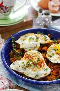 Chile-Sweet Potato Hash with Fried Eggs | Recipe on FamilyFreshCooking.com © MarlaMeridith.com