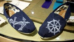 Nautical Toms shoes - hand printed