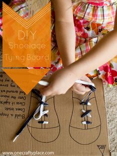 Teach your children to tie their shoes with this easy to make lacing  board.