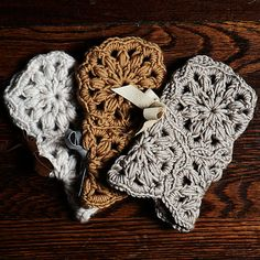 Needle By Needle - fingerless mittens - crochet flower with suede bow