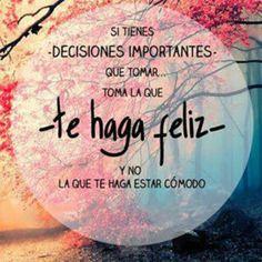 Decisiones cita, haga feliz, palabra, en español, te haga, frase, pensamiento, decision, quot
