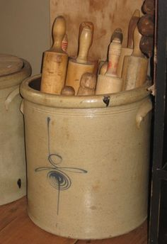 Large Stoneware Crock with Wooden Rolling Pins-cupboard, house pics, homestead pictures, primitive, primitive house pictures, primitive decor, primitive home decor, primitive cupboard, primitive home, primitive home decor, country, country decor, country primitive decor