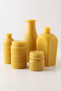 Naturally scented, clean-burning beeswax candles in vintage-style mason jar and milk bottle shapes, from Anthropologie at @CityPlace, $25-$60.