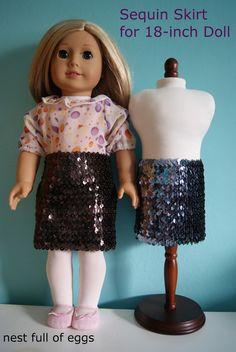 Sequin skirt for 18-inch doll tutorial