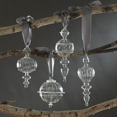 Sometimes, the simplest design is the most elegant. Our Julia Glass Ornaments are made of clear glass with raised beading, ruffles and fluted details that catch the light from every angle. Mix them with brightly colored balls and heirloom ornaments for sparkling contrast.