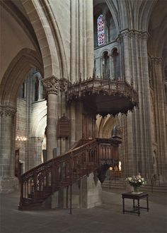 The pulpit used by the Protestant Reformer John Calvin in St Pierre Cathedral, Geneva.