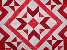 Patchwork Queen Quilt Red White  Ruby Crystal by MooseCarolQuilts, $1570.00