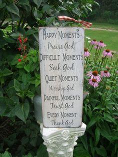 Happy Moments Praise God Handmade Distressed Wood by primsnposies, $25.00