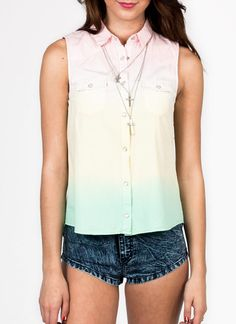 Dip-dyed button-up top $32.20