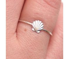 Shell Ring -  unique and tiny little ring features a small sterling scallop shell. Very tiny and feminine. Perfect for summer!