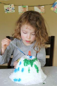 foam volcano, paint, kid