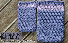 Mama and Tot Bath Mitts #freepattern #crochet