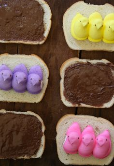 marshmallow peeps and nutella sandwiches from @Lauren Davison Davison Grier