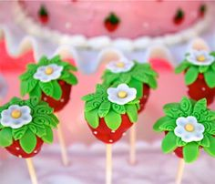 Colorful Strawberry Shortcake Cake Pops